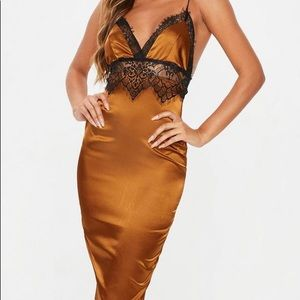Missguided Rust lace detail satin midi dress